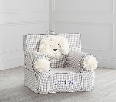 Gray Gingham Puppy Anywhere Chair 174 Kids Armchair