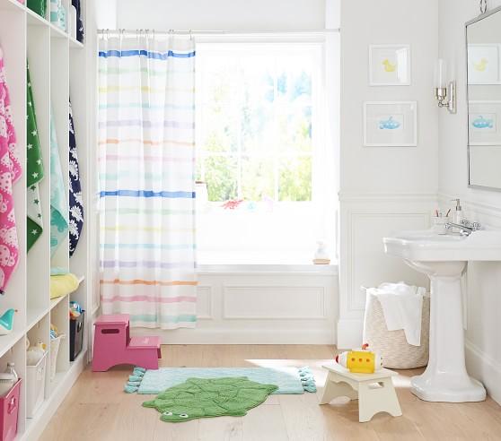 Rainbow Stripe Kids Shower Curtain