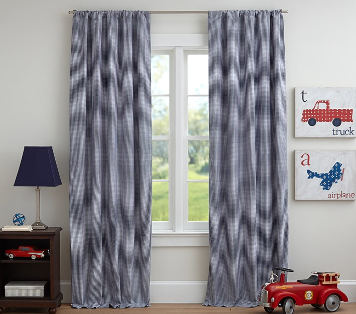 Gingham Kids Blackout Curtain Pottery