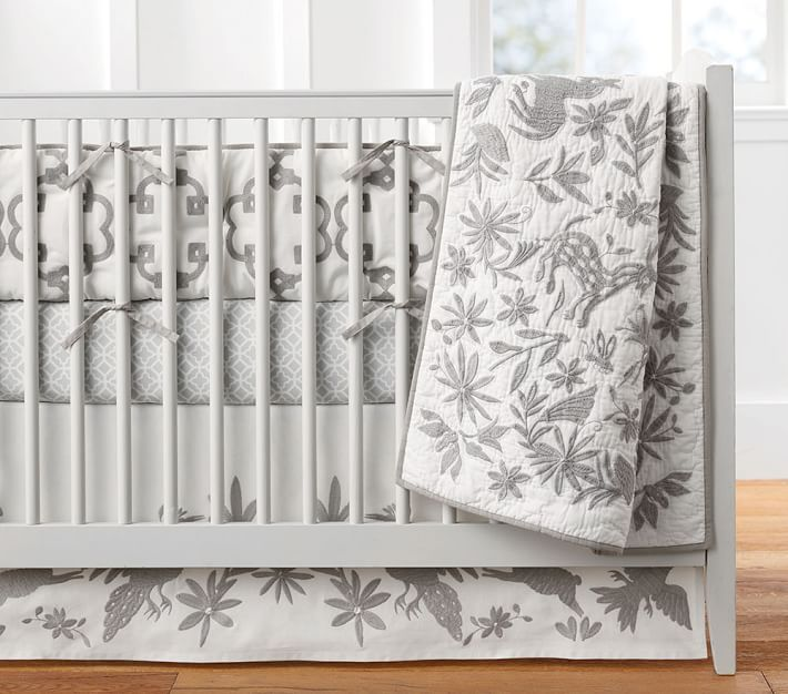 Grey Piper Crib Skirt Nursery Bedding Pottery Barn Kids