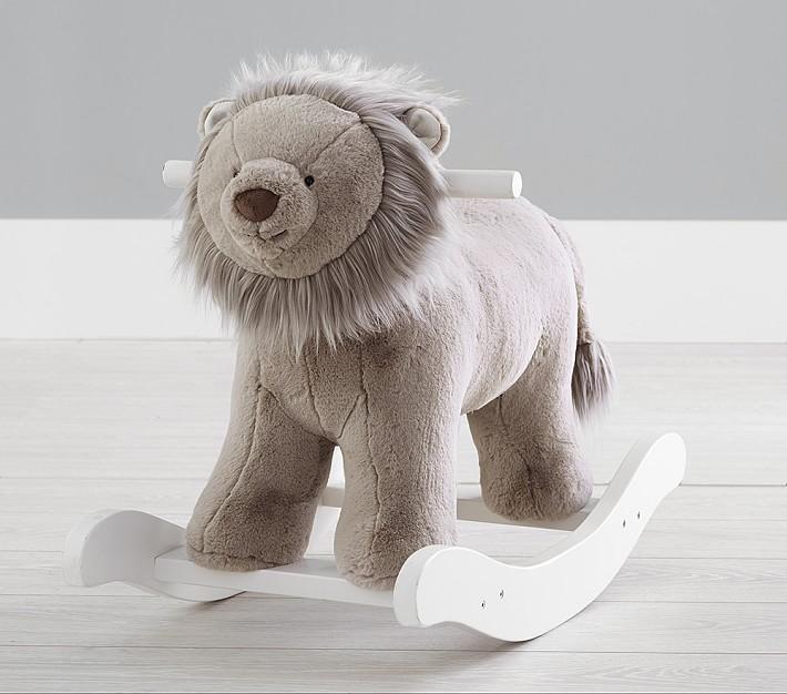 Taupe Lion Plush Toy Rocker Animal Rocker Pottery Barn