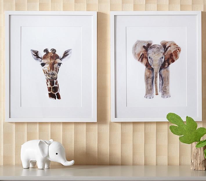 Giraffe Elephant Framed Wall Art