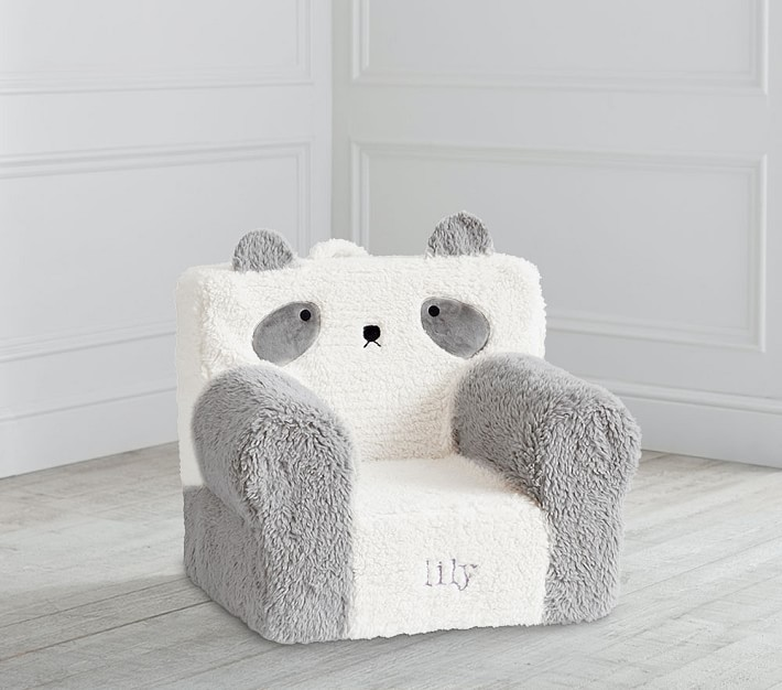 My First Ivory Gray Panda Sherpa Anywhere Chair 174 Toddler