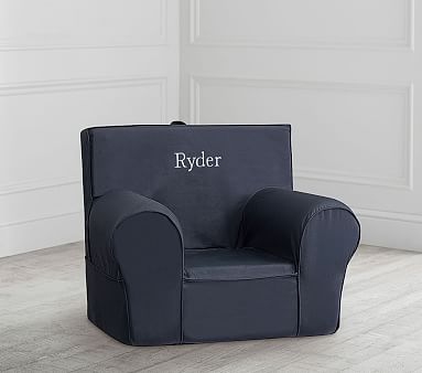 Gray With White Piping Anywhere Chair 174 Kids Armchair