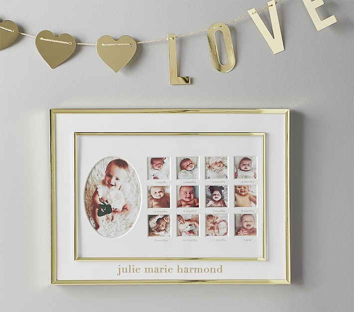 Polished Gold First Year Frame Baby Keepsake Pottery