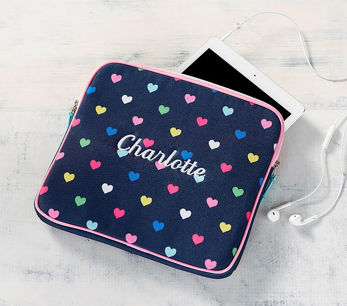 Mackenzie Navy Pink Multicolor Hearts Tablet Case