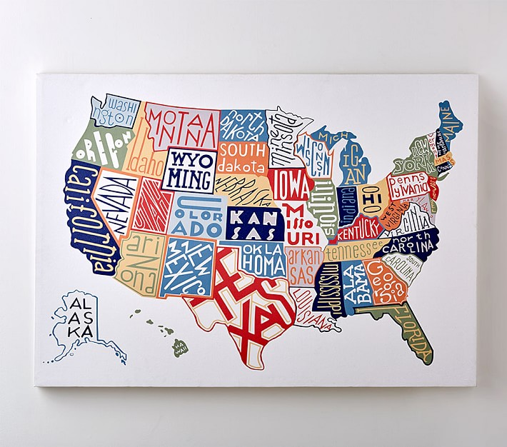 united states map painting Usa Map Canvas Wall Art Pottery Barn Kids
