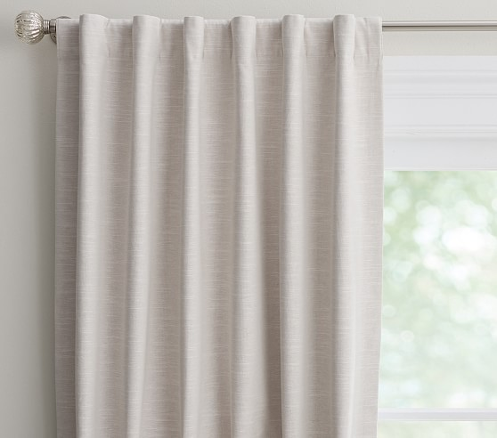 Evelyn Linen Blend Ruffle Bottom Kids Blackout Curtain