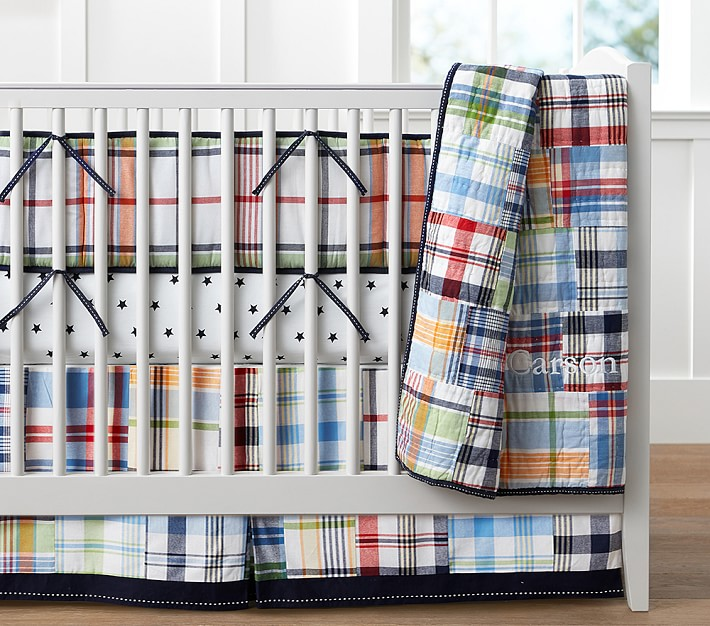Madras Crib Bedding Set Pottery Barn Kids