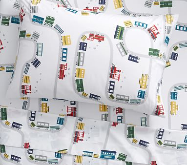 Organic Maxwell Train Kids Sheets Pottery Barn Kids