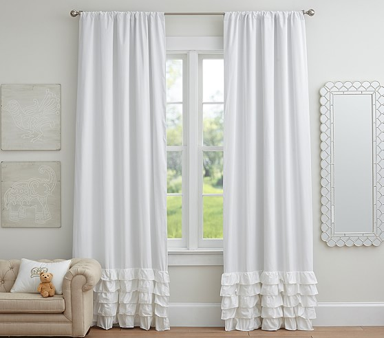 Ruffle Bottom Blackout Curtain Panel Pottery Barn Kids