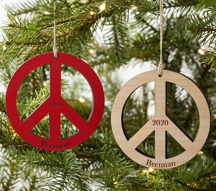 Personalized Wooden Peace Sign Christmas Ornament Pottery Barn Kids