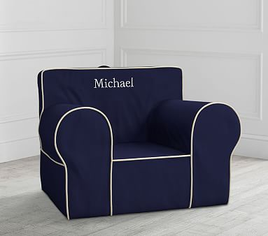 Oversized Navy With White Piping Anywhere Chair