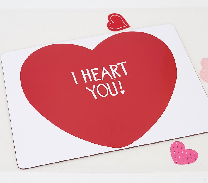 I Heart You Valentine S Day Placemat Valentine S Day Home Decor Pottery Barn Kids