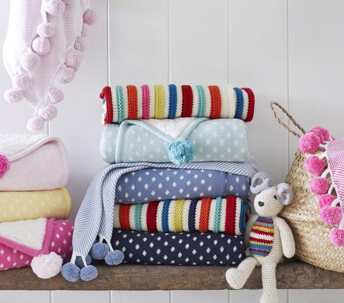 Dot Knit Sherpa Baby Blanket Pottery Barn Kids