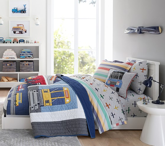 Pottery Barn Kids Multi Color In Flight Air Planes Shapes Jersey Twin Sheet Set