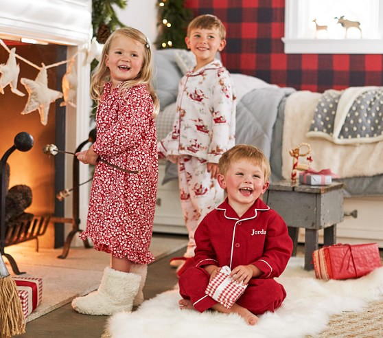 Santa S Sleigh Kids Flannel Pajama Pottery Barn Kids