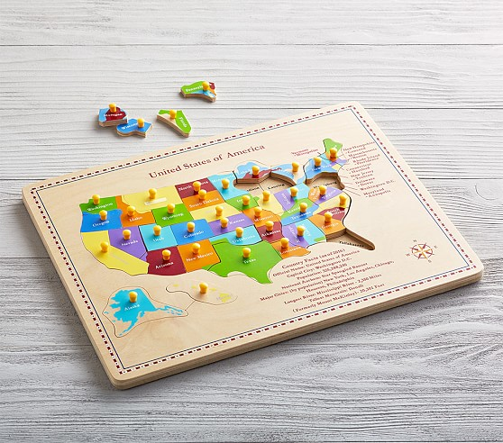 Kids Us Map Puzzle USA Map Puzzle | Educational Toys For Kids | Pottery Barn Kids