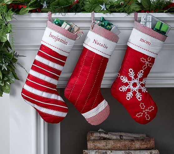 Solid Red Quilted Christmas Stocking Pottery Barn Kids