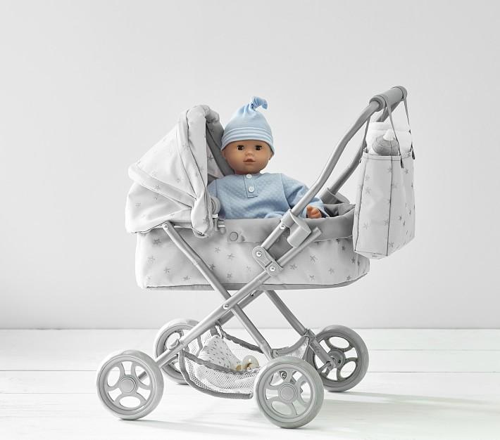 Gray Stars Mini Pram Doll Stroller Baby Doll Acessories