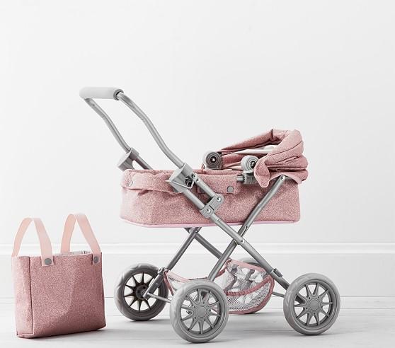 Pink Glitter Mini Pram Doll Stroller | Baby Doll Acessories | Pottery Barn  Kids