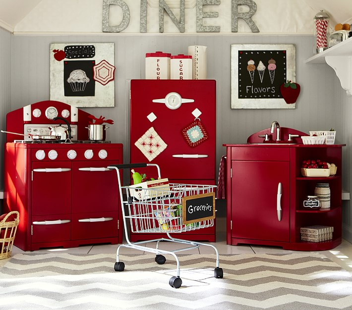 Red Retro Play Kitchen Collection Pottery Barn Kids