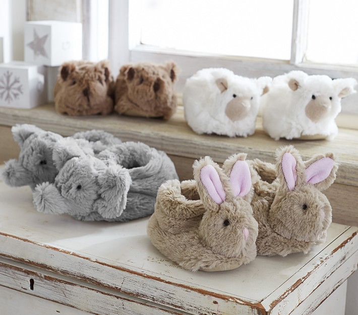 Faux-Fur Baby Animal Kids Slippers