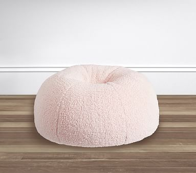 Blush Cozy Sherpa Anywhere Beanbag Kids Bean Bag Chair
