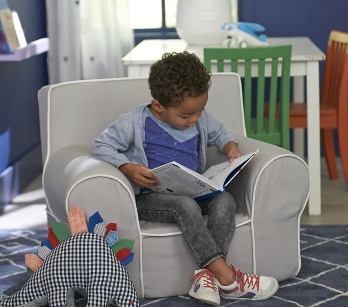 Oversized Gray With White Piping Anywhere Chair