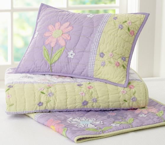 Daisy Garden Toddler Comforter, Daisy Garden Quilted Bedding Pottery Barn