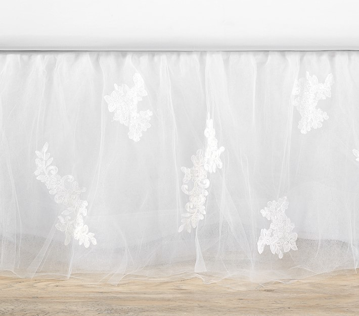 $179 NEW Pottery Barn Monique Lhuillier LACE Applique BED SKIRT White Tulle TWIN