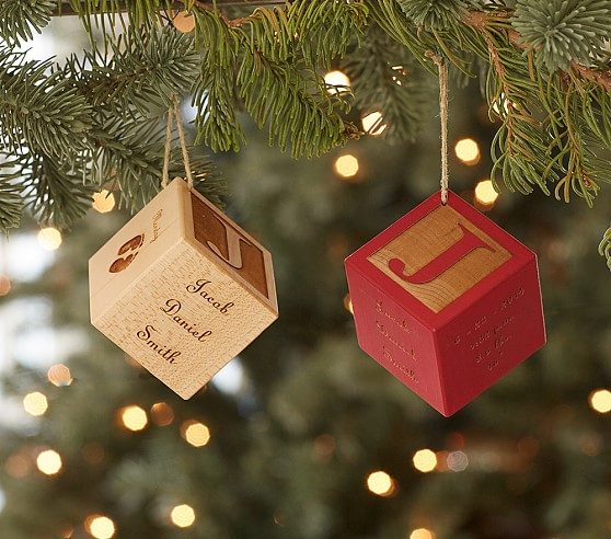 Personalized Baby Wooden Block Ornaments Pottery Barn Kids
