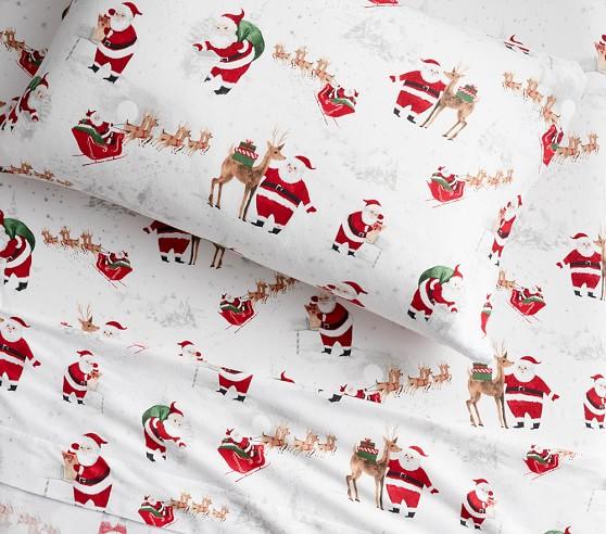 Pottery Barn Kids Heritage Santa Sheet Set Full Size Flannel Christmas Holiday Bedding Home Garden
