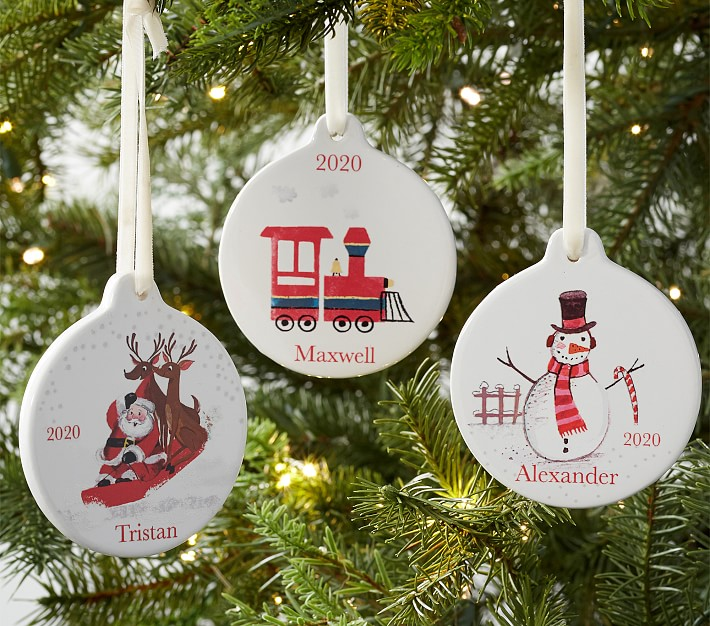 personalized ceramic christmas ornaments pottery barn kids personalized classic ceramic ornaments