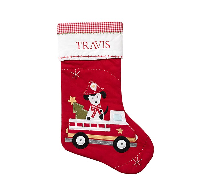 Quilted Firetruck Dog Christmas Stocking Pottery Barn Kids