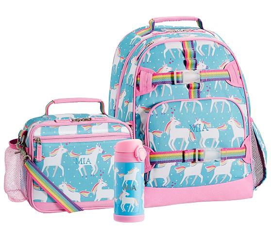 Pottery Barn Kids Unicorn Large Backpack Aqua Lunchbox Water Thermos Girls Set 6