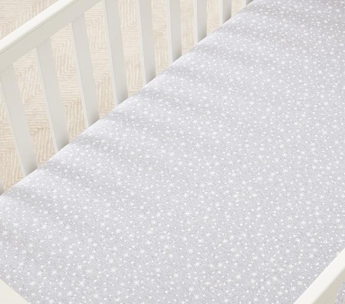 Star Printed Jersey Organic Crib Fitted Sheet Pottery Barn Kids