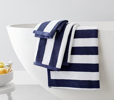 Rugby Stripe Bath Bath Towel, Navy
