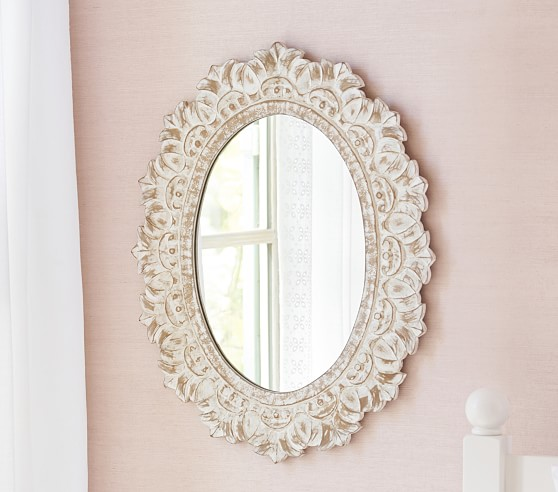 Carved Oval Kids Mirror Pottery Barn, Carved Wood Mirror Pottery Barn