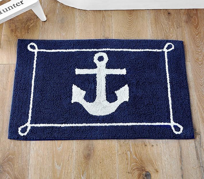 Off Nautical Anchor Pattern Bath Mat, Nautical Bathroom Rugs