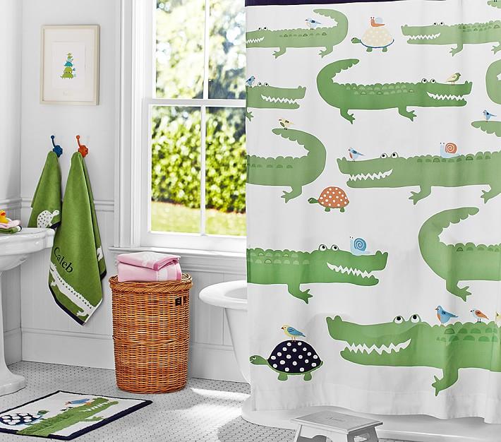 Alligator Kids Shower Curtain Pottery, Alligator Shower Curtain