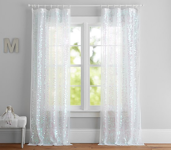 Sequin Kids Sheer Curtain Pottery, Shimmer Sheer Curtain Panels