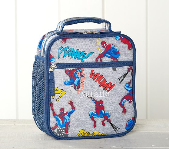 Marvel Spiderman Black Lunch Box Lunch Bag and Adjustable Strap Insulated