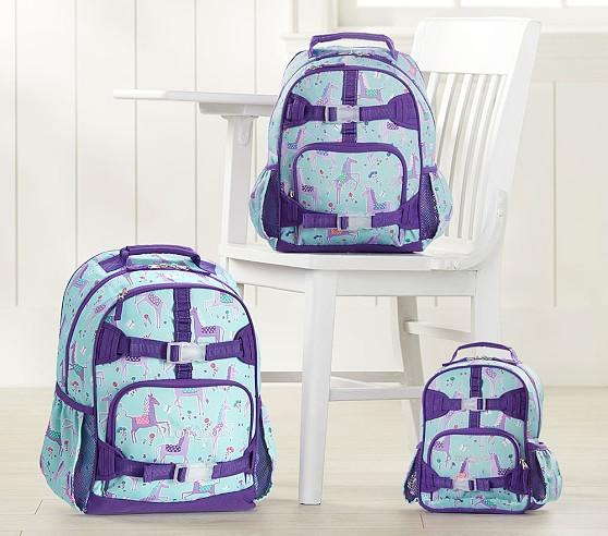 Pottery barn kids Summer Lavender Unicorn Large BackpacK Lunchbox Water Bottle