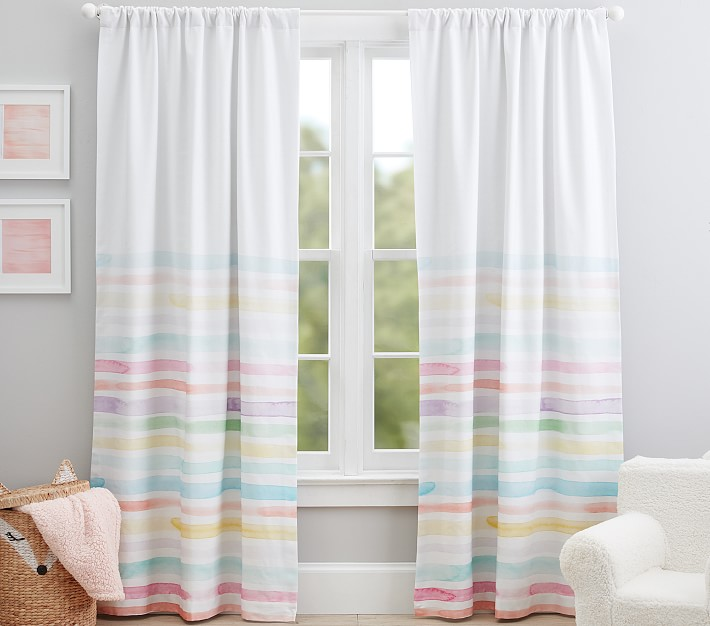 WPKIRA Boys Girls Study Window Treatments Bedroom Rainbow Sunny Colored Pencils Printing Voile Sheer Curtain Drapes Tulle for Kids Room Rod Pocket Top 1 Panel W39 x L63 inch
