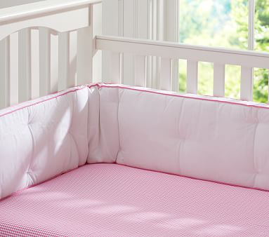 Gingham Organic Crib Fitted Sheet, Pink Gingham Baby Bedding