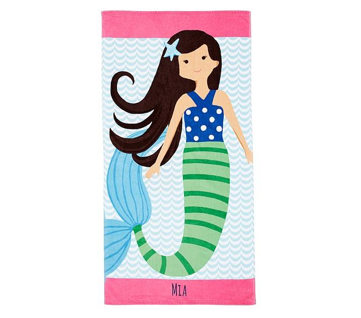 Mia Mermaid Kids Beach Towel Pottery Barn Kids