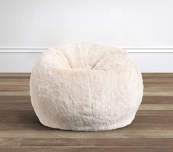 Ivory Faux Fur Anywhere Beanbag