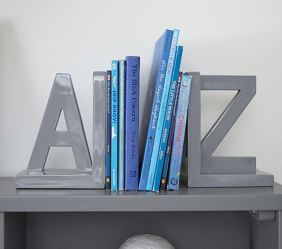 Gray A Z Kids Bookends Pottery Barn