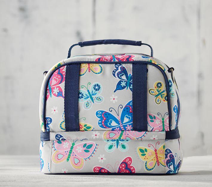 Mackenzie Navy Rainbow Unicorn Classic Kids Lunch Bag
